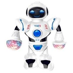 Mini robô inteligente divertido robô dança robô brinquedo led música luz hyun dança robô