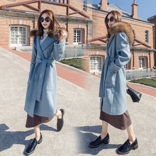 Hchenli Brand 2017 Women Large Long Wool Coat High Quality Blue Khaki Fashion Outerwear Fur Collar Belt Big Winter Clotthing