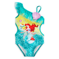 Retail Cute Girls Swimwear Ariel One Pieces Swimsuit Kids Ruffled Swimming Suit For Girl Children Bathing