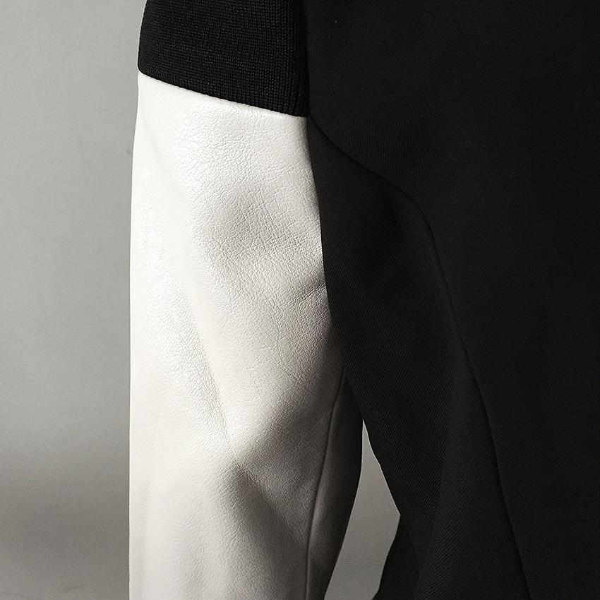 HIGH QUALITY Newest Fashion 2020 Designer Blazer Women s Leather Patchwork Double Breasted Blazer Classic Varsity