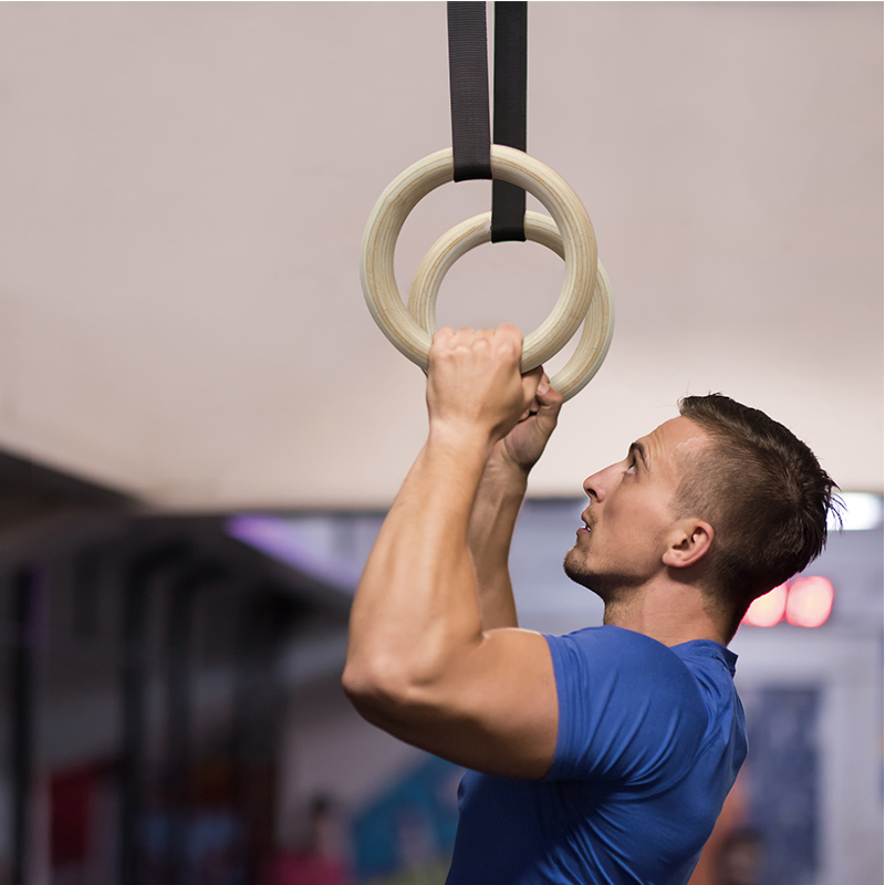 Wooden Gymnastic Rings Gym Pull-up Rings with Adjustable Buckles, Sports Training Home Gym Pull Ups Strength Training new wooden 28mm fitness pull up gymnastics training rings exercise gym crossfit pull ups muscle ups adjustable straps