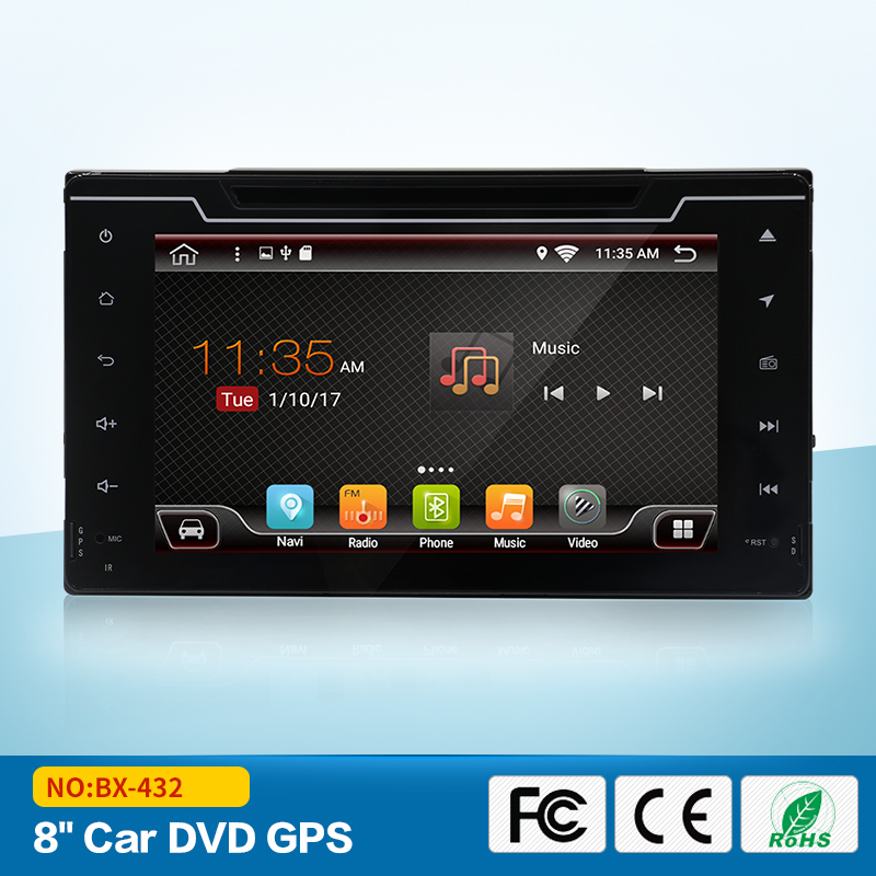 2 din Android 6.0 for Toyota Corolla 2017 With GPS Bluetooth Wifi DVR support 8 inch 1024*600 screen car stereo radio