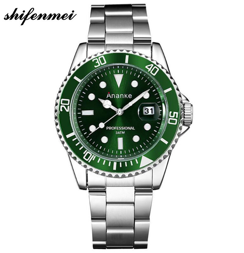 Watch Male Ro Style Rotating Bezel Casual Business Stainless Steel Waterproof Luminous Wrist Watch mens watches top brand luxury