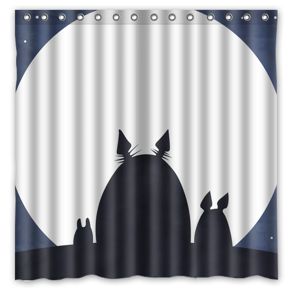 Polyester Fabric Bath Shower Curtain My Neighbor Totoro Waterproof Bathroom Decorative Curtains 180x180cm With White Hooks