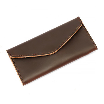Breif Style Handcrafte Real Leather Wallet Men and Women Designer Vintage Unique Cellphone Bags with Card Holder Slim Wallet