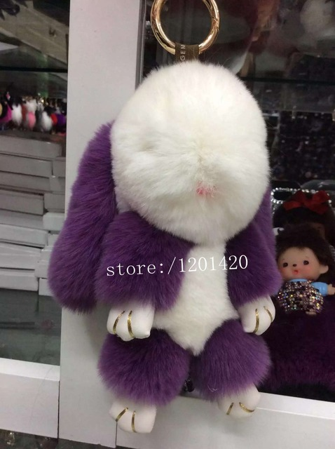 1pc Lovle Bunny fur charm 100% Real Genuine Rex Rabbit grey Fur Keychains leather Bag Charm Doll  Backpack Keyring Pendant