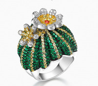 ZOZIRI 925 Sterling Silver green cz Cactus Ring for Women Fashion Cubic Zircon Prickly pear finger rings Brand HF Jewelry