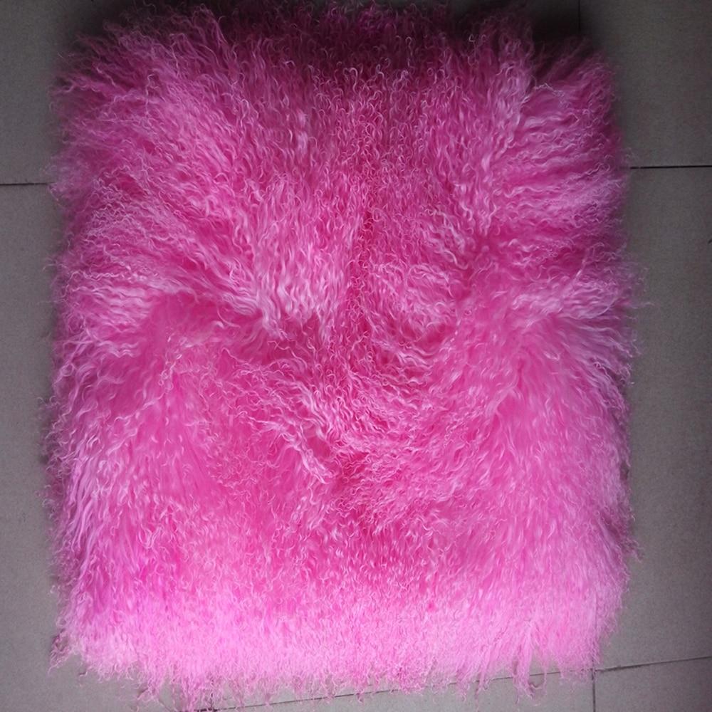 2018 정품 핑크 몽골 양고기 모피 깔개 티베트 모피 - 예술, 공예, 바느질