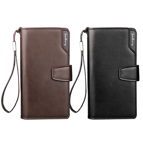 Men Faux Leather Long Wallet Zipper Credit Cards Phone Storage Purse Handbag