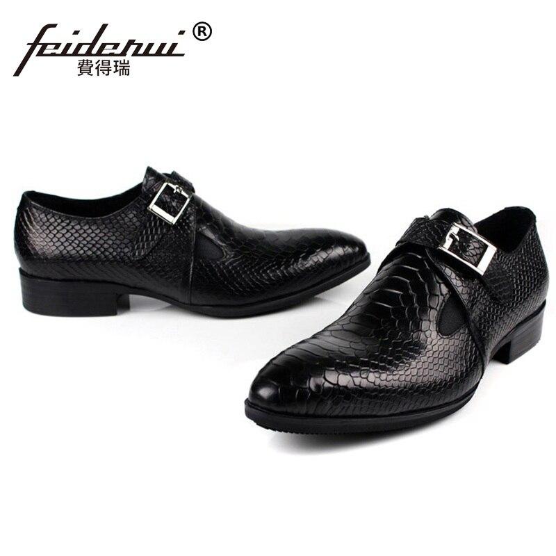 Schuhe Spitz Luxusmarke Echtem Leder Formale Aus Schwarzes Designer Wohnungen Mönch Alligator Grundhandgefertigte Männer Oxfords Kleid brown Fd36 Czfxqc1