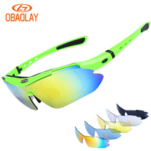 OBAOLAY Polarized Sports Men Sunglasses Road Cycling Glasses Mountain Bike Bicycle Riding Protection Goggles Eyewear 5 Lens