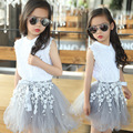3-12Y  Children girls Clothing sets teenage summer costume girl clothes cotton Lace T shirt  Lace Blouse +Flower TUTU Skirts