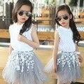 3-12Y Crianças meninas conjuntos de Roupas de verão adolescente menina traje roupas de algodão Rendas T shirt Lace Blusa + Saias TUTU Flor