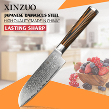 XINZUO HOT 5″inch chef knife VG10 73 layers Damascus steel kitchen knife very Shap santoku knife color wood handle FREE SHIPPING