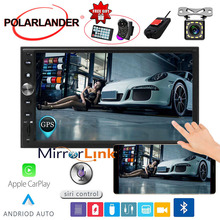7'' 2 DIN Car Radio Autoradio Mirror link GPS Navi Touch Screen Multimedia FM For Iphone Carplay & Android Bluetooth MP5 7 2 din touch screen car stereo mp5 player 4core android os bluetooth wifi gps navigator auto fm radio autoradio mirror link