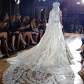 2016 Velo De Novia Luxury Two Layer White&Ivory Sequins Blings Sparkling Long Lace Edge Purfle Cathedral Wedding Veils