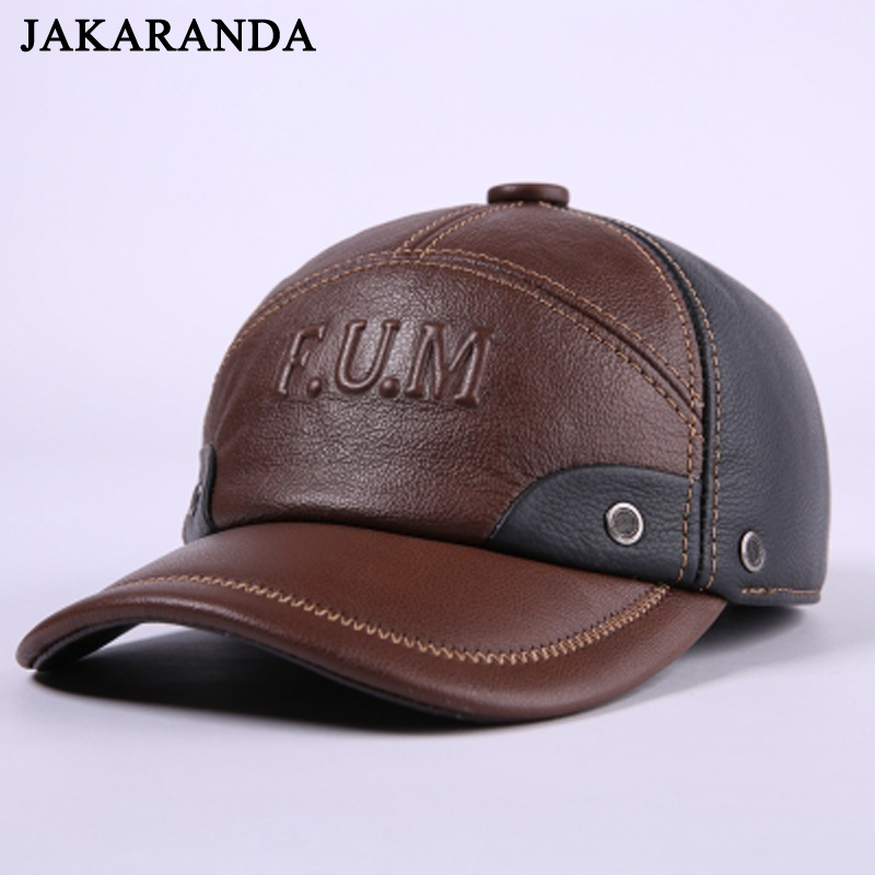7251a2bb9f7 RY153 Winter Genuine Leather Patchwork Baseball Caps For Men Golf Peaked  Dome Hats Male Letters Adjustable