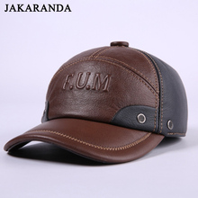 Recurfs Youni RY153 Winter Genuine Leather Patchwork Baseball Caps For Men Golf