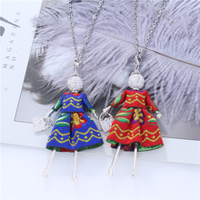 цена на Vintage Dress Doll Necklaces For Women Blue Red Embroidery Clothing Silver Crystal Figure Pendants Necklaces Long Chain collares
