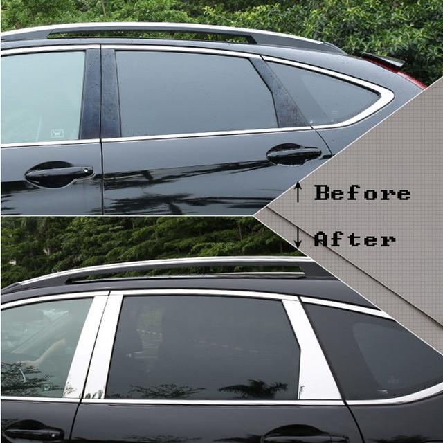 55150cdfc7de Para Honda CRV CR-V accesorios/2012/13/14/15/16/17 de la ventana de acero  inoxidable adornos centro pilares cubre