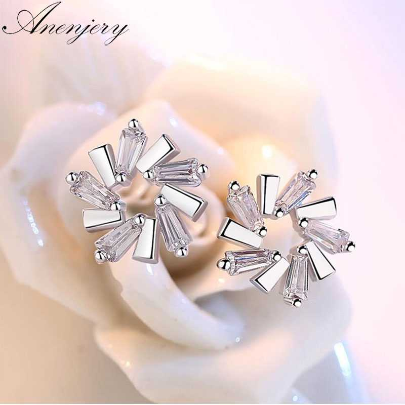 Anenjery 925 Sterling Silver AAAAA CZ Zircon Ice Flower Stud Earrings For Women Silver 925 Jewelry Oorbellen Brincos S-E533