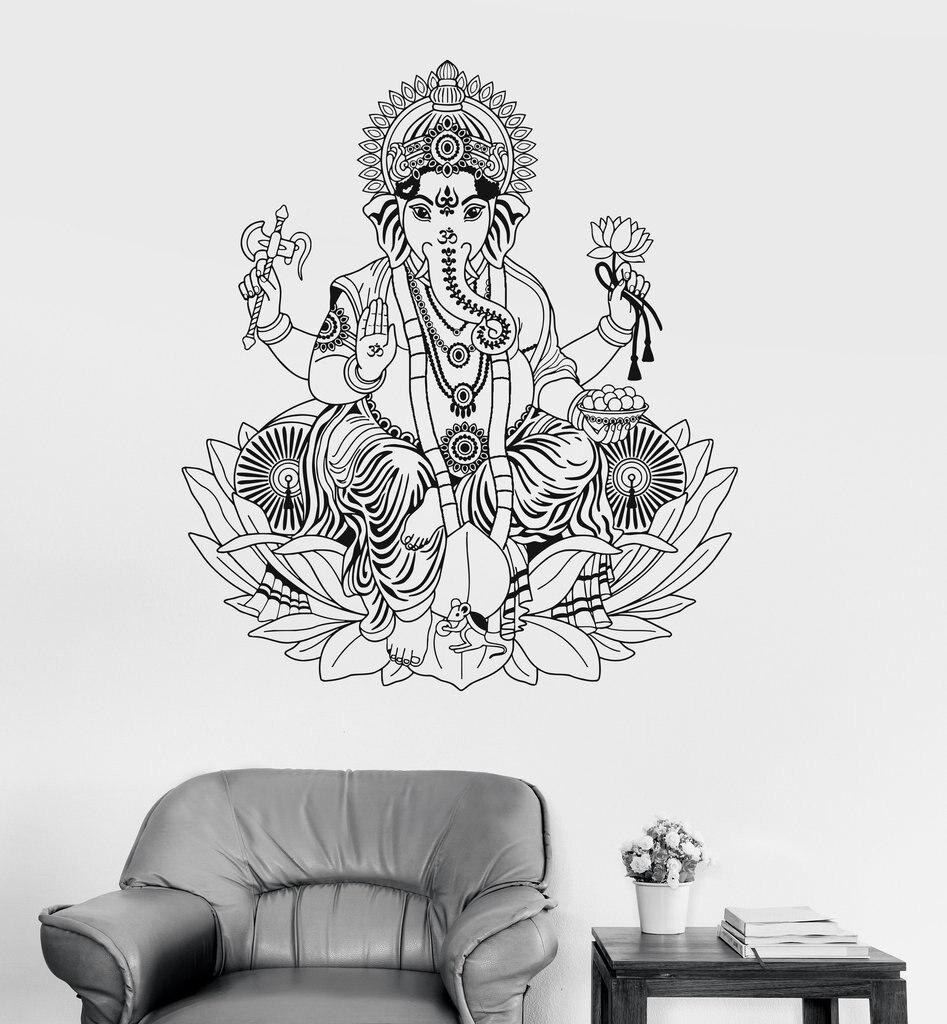 Naujas atvykimas Vinilo sienos lipdukas Ganesha lotoso induizmas - Namų dekoras