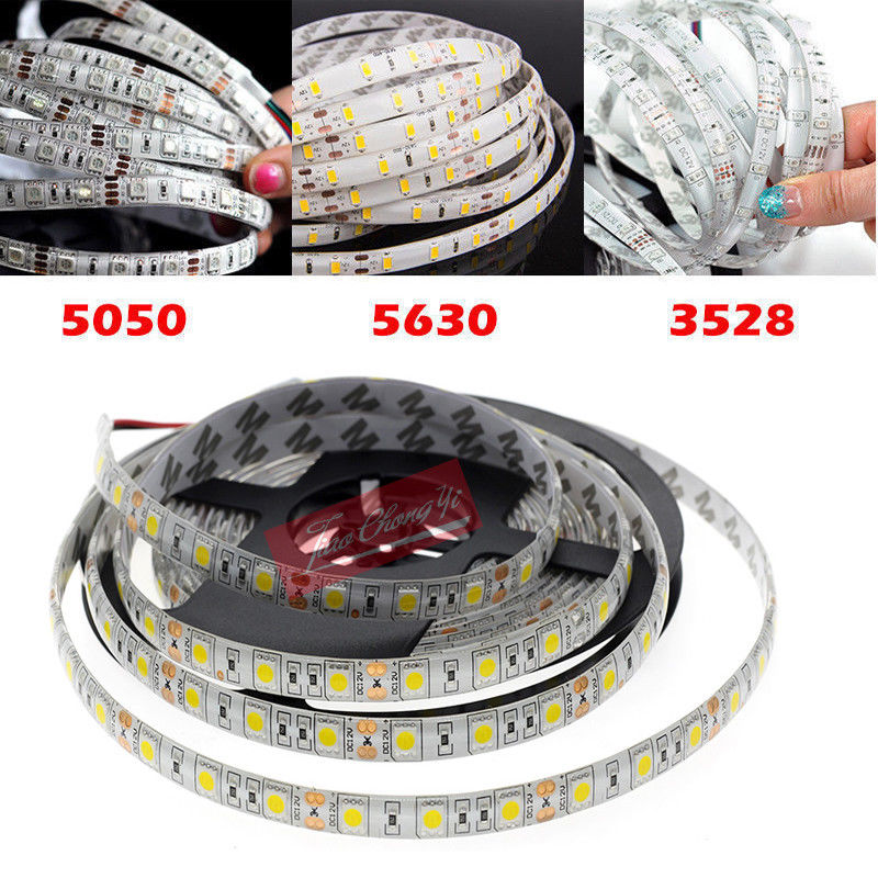 5M SMD 300 600 LED 3014 3528 5050 5630 Waterproof Flexible Strip Light 12V White NEW sencart waterproof 12w 900lm 9500k 300 smd 3528 led cool white light strip white dc 12v 5m