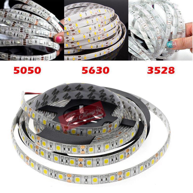 5M SMD 300 600 LED 3014 3528 5050 5630 Waterproof Flexible Strip Light 12V White NEW
