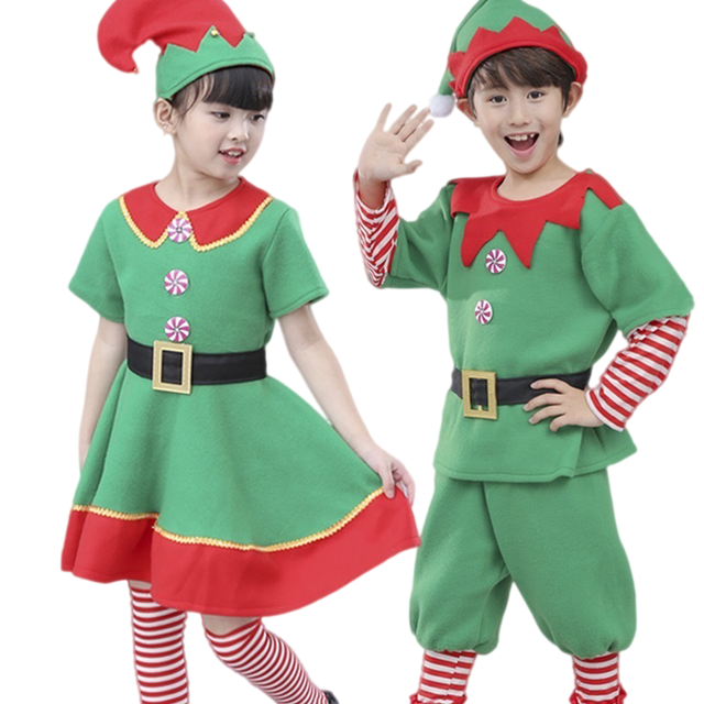 b02e2896334a green christmas elf costumes for children christmas clothing christmas dress  for girls funny costumes party clothes