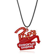 MQCHUN Riverdale TV Series Pop's Chock'lit Shoppe Logo Necklace Red Enamel Metal Charm Pendant With Rope Chain For Men Women(China)