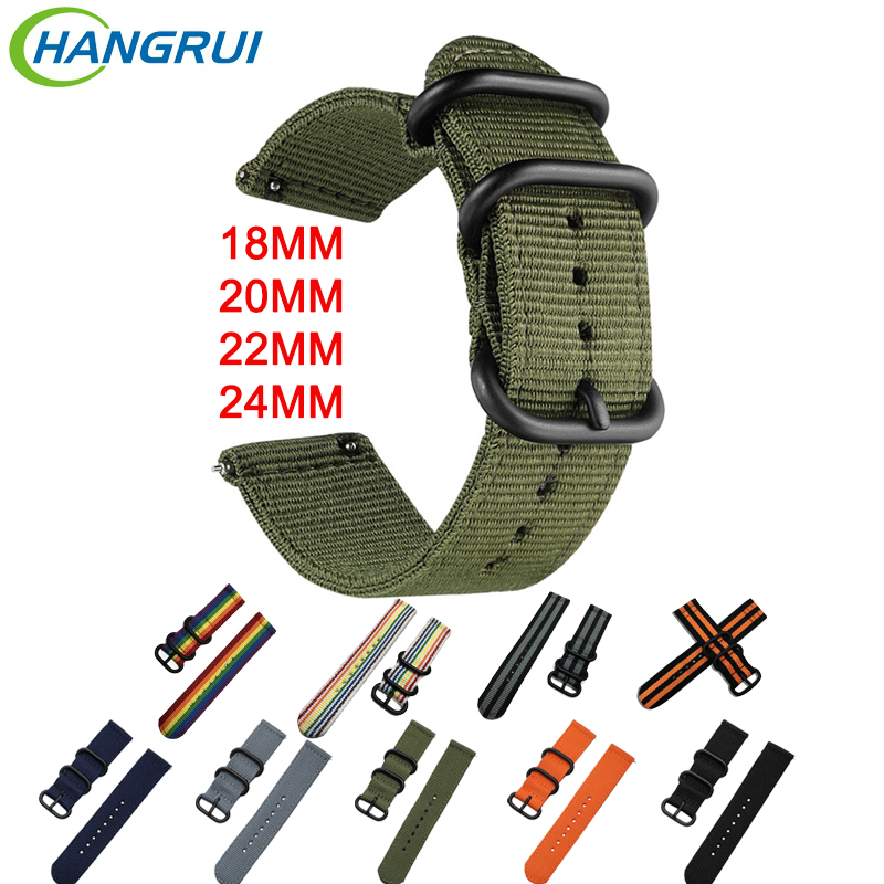 18mm 20mm 22mm 24mm Nylon Strap For Amazfit Bip Amazfit Stratos Quick Release Watch Band For Garmin Vivoactive3 Huawi Watch GT