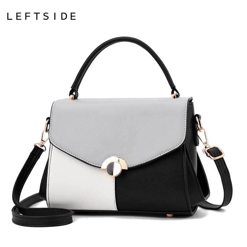 fa95fca7b7 LEFTSIDE Stitching Color Lady Crossbody Bag Small Handbag For Women PU  Leather Shoulder Messenger Cross Boday