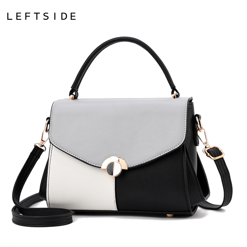 LEFTSIDE Stitching Color Lady Crossbody Bag Small Handbag For Women PU Leather Shoulder Messenger Cross Boday Bags Famous Brand