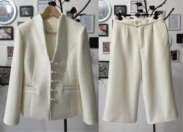 Vestito Elegante Ufficio : Cashmere due pezzi set elegante inverno giacca e pantaloni