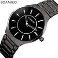 Relogio masculino hombres reloj de cuarzo vestido de negocios reloj de acero negro reloj de pulsera de moda casual masculina 2016 BOAMIGO marca a prueba de agua