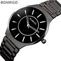 Relogio masculino homens relógio de quartzo preto relógio de pulso de aço moda casual dress negócios relógio masculino 2016 BOAMIGO marca à prova d' água