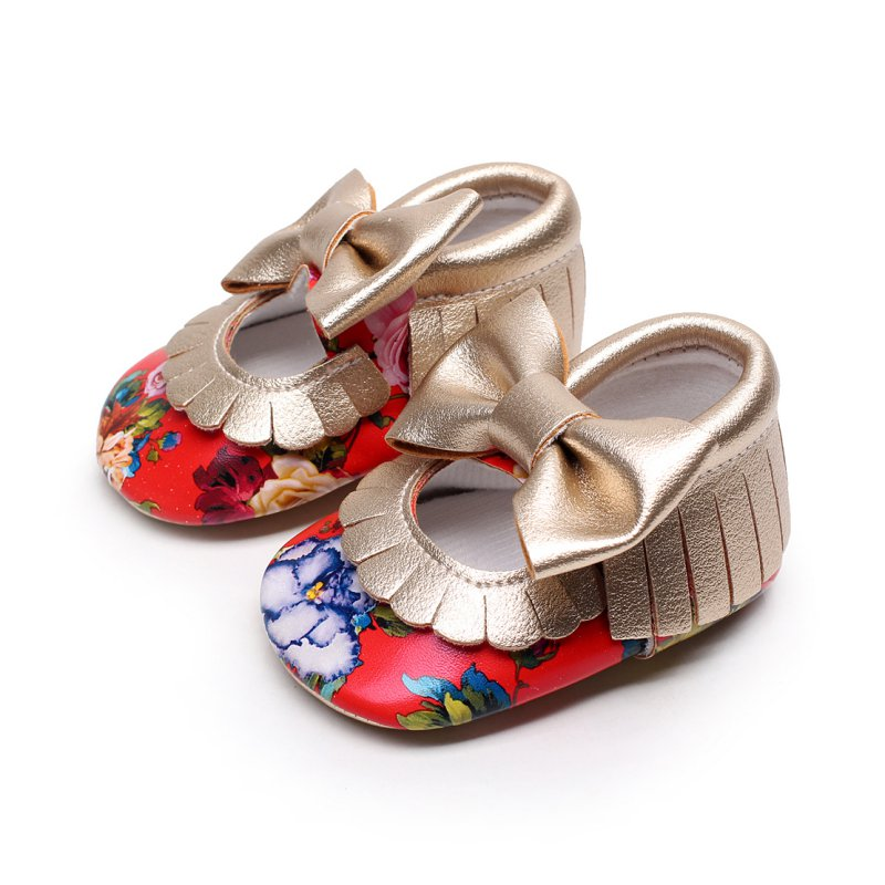 Soft PU Leather Baby Shoes Solid Floral Mary Janes Big Bow Baby Girl Princess Soft Moccs First Walkers Spring Footwear
