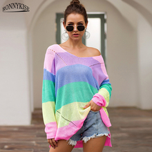RONNYKISE Multicolor Stitching Knitted Sweaters Long Sleeve Sexy V-neck Casual Tops Autumn Winter Loose Women Pullovers