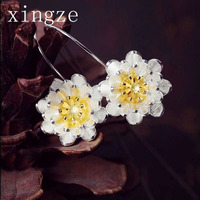 New Style High Quality 925 Sterling Silver Handmade Earrings Wire Drawing Lotus Long Earrings For Women