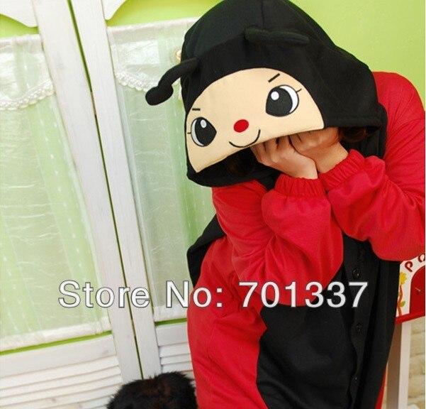 Мужские Женские красный Жук взрослых животных Комбинезоны onsie пижамы r345 S/M/L/XL