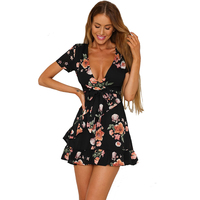 2018 Summer Women Sexy Deep V neck Flower Print Dresses Black Print Hem Folds Bohemian Style Belt Mini A Line Beach Dress