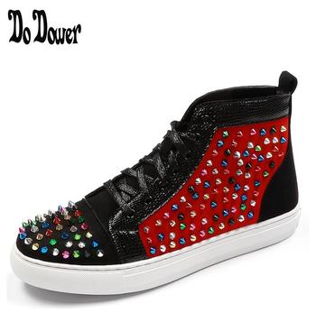 Top Quality Fashion lace-up Men High Top British Style Rrivet Shoes Men Causal Luxury Shoes Red Black Bottom rubber for Male
