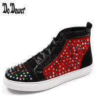 Top Quality Fashion lace up Men High Top British Style Rrivet Shoes Men Causal Luxury Shoes Red Black Bottom rubber for Male