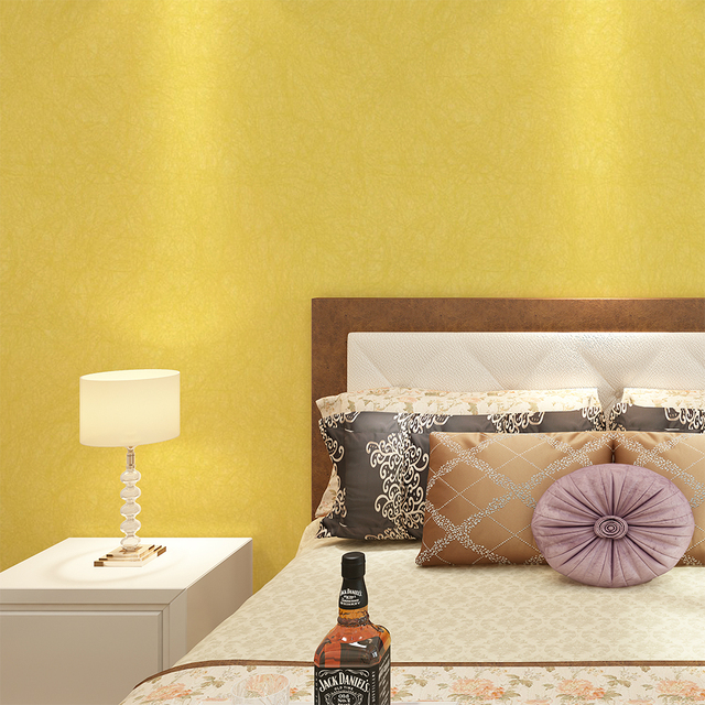 HaokHome Solid Color Non Woven Wallpaper Bright Yellow Modern ...
