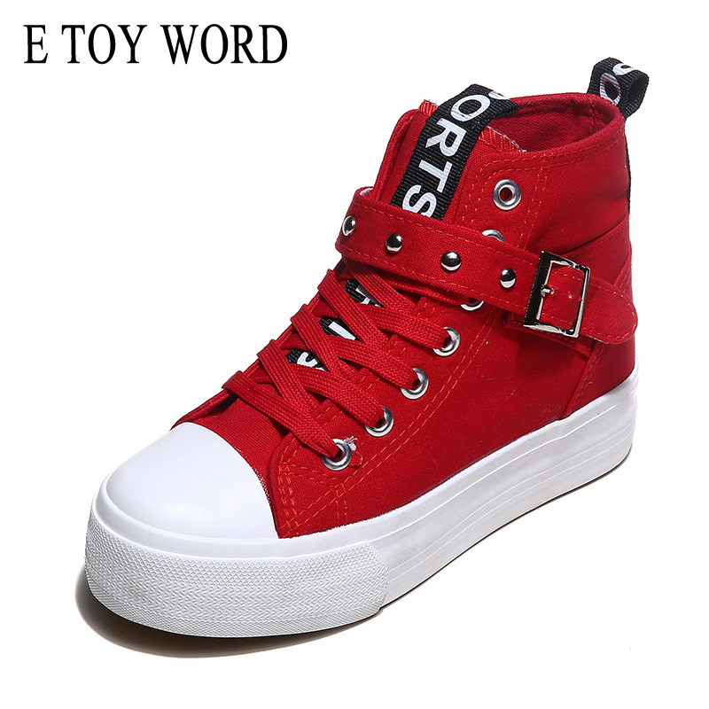 E TOY WORD High Top Sneakers Canvas Women Shoes Fashion Solid casual shoes lace up Height Increasing Platform Trainers Chaussure glowing sneakers usb charging shoes lights up colorful led kids luminous sneakers glowing sneakers black led shoes for boys