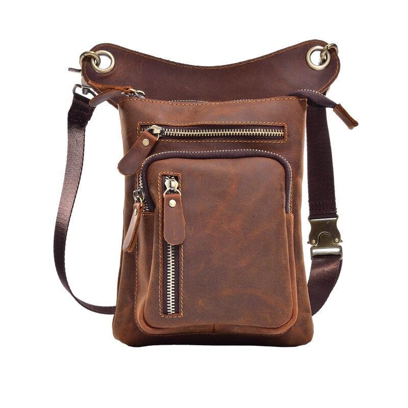 купить Men Vintage Cowhide Genuine Leather Drop Leg Fanny Waist Pack Belt Hip Bum Travel Motorcycle Riding Messenger Shoulder Bags недорого