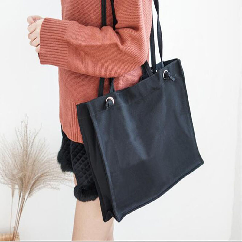 Fashion Durable Women Student Cotton Linen Single Shoulder Bag Female Wild Portable Handbag Solid Color Casual Handbag