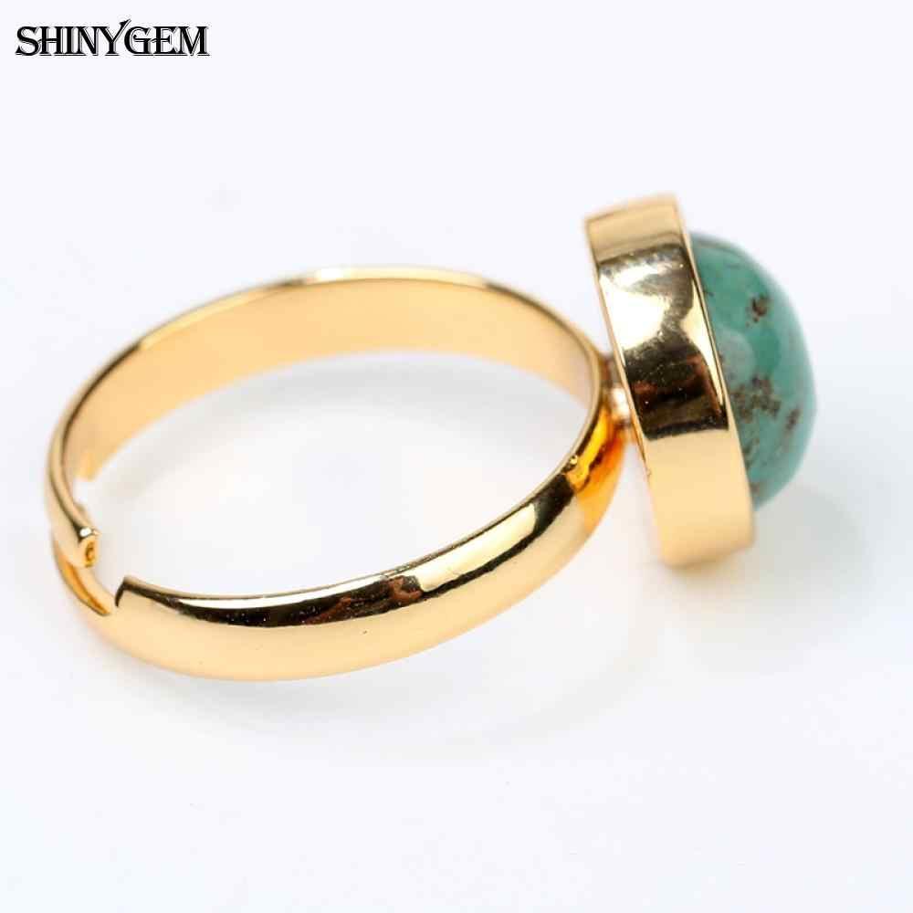 ShinyGem New Arrival Gold สีแหวนปรับ 10 มิลลิเมตรรอบอัญมณีธรรมชาติสีเขียวแหวนหินธรรมชาติ Turquoises แหวนผู้ชาย