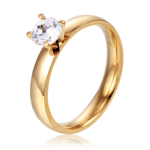 Wedding Engagement Rings Size 9 18K Gold Plated Clear Prong Setting Cubic Zirconia Classic Fashion Jeweley Womens