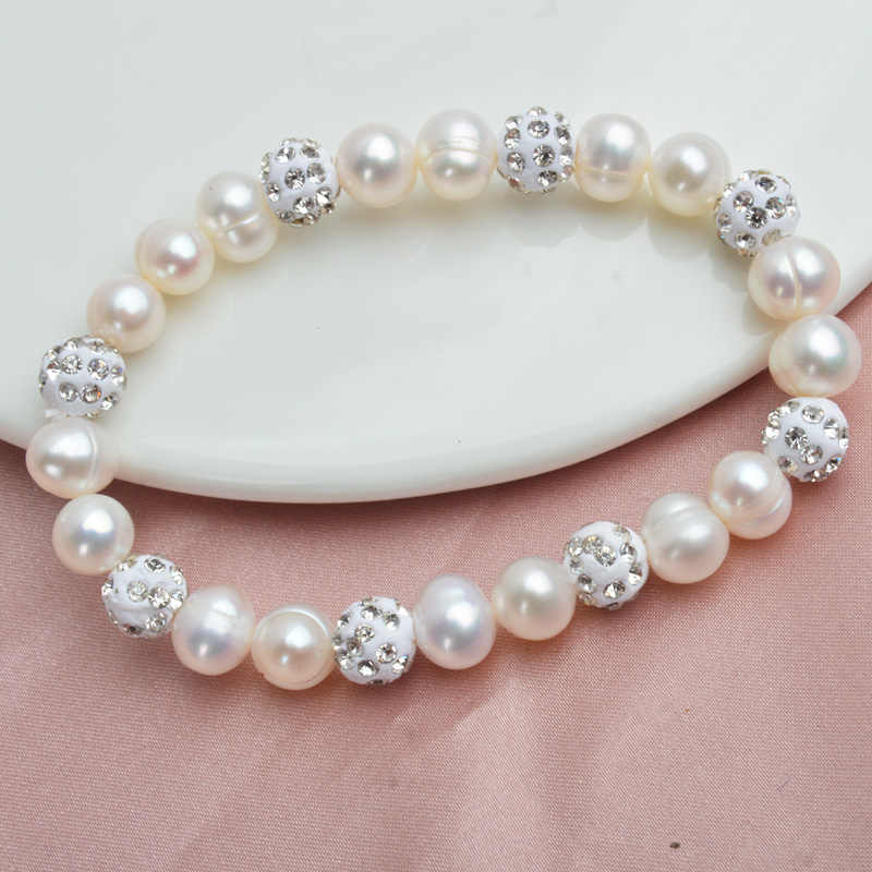 Женские браслеты из жемчужных бусин ASHIQI, браслеты из натурального пресноводного жемчуга с бусинами из белой глины со стразами, на подарок, ювелирные изделия
